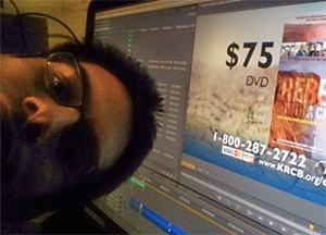 David S Waxman poses in front of Adobe Premiere Pro.