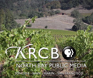 The KRCB-TV logo over a scenic wine country vista.